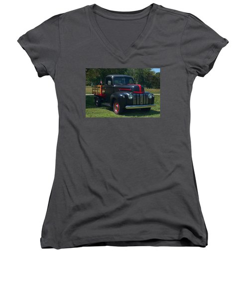 1946 Ford Stake Side Truck Women's V-Neck T-Shirt (Junior Cut) by Tim McCullough