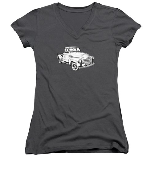 1947 Chevrolet Thriftmaster Pickup Illustration Women's V-Neck T-Shirt (Junior Cut) by Keith Webber Jr