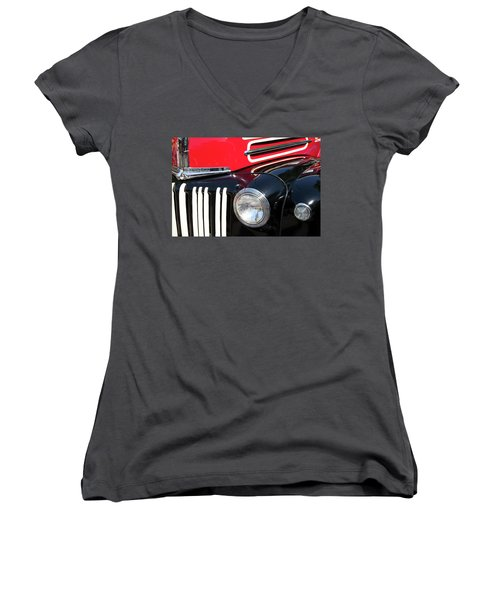 Women's V-Neck T-Shirt (Junior Cut) featuring the photograph 1947 Vintage Ford Pickup Truck by Theresa Tahara