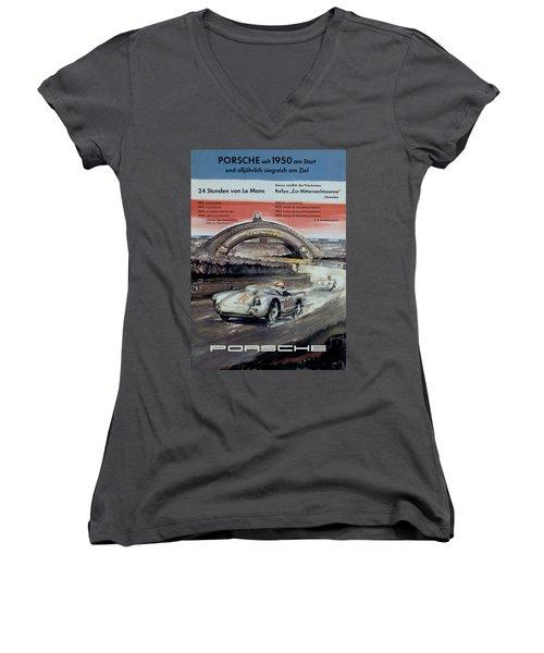 1950 Porsche Le Mans Poster Women's V-Neck