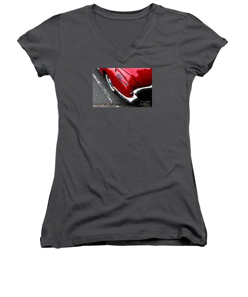 Women's V-Neck T-Shirt (Junior Cut) featuring the photograph 1959 Corvette by M G Whittingham