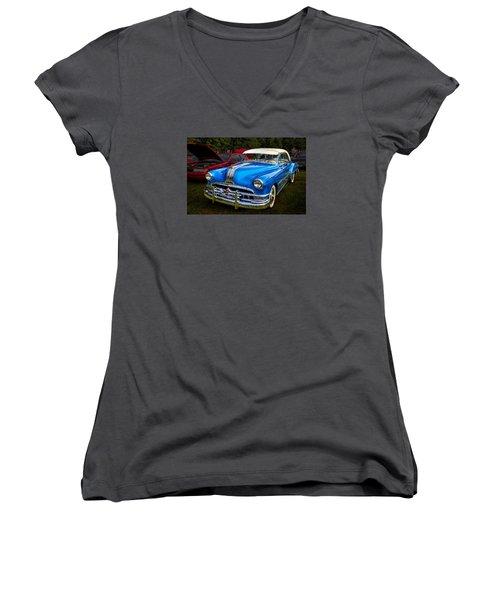 Women's V-Neck T-Shirt (Junior Cut) featuring the photograph 1952 Blue Pontiac Catalina Chiefton Classic Car by Betty Denise