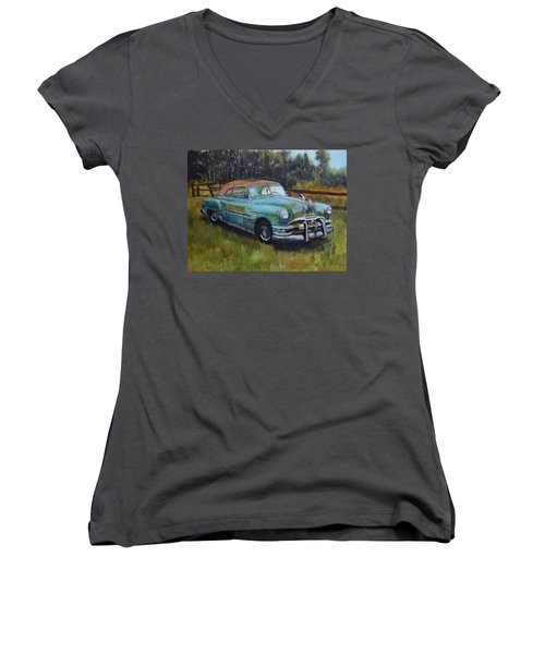 Women's V-Neck T-Shirt (Junior Cut) featuring the painting 1952 Pontiac Chieftain  by Sandra Nardone