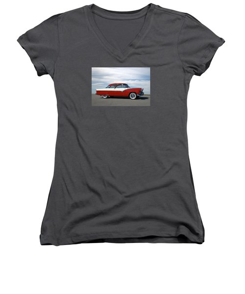 1955 Ford Victoria Women's V-Neck T-Shirt (Junior Cut) by Tim McCullough