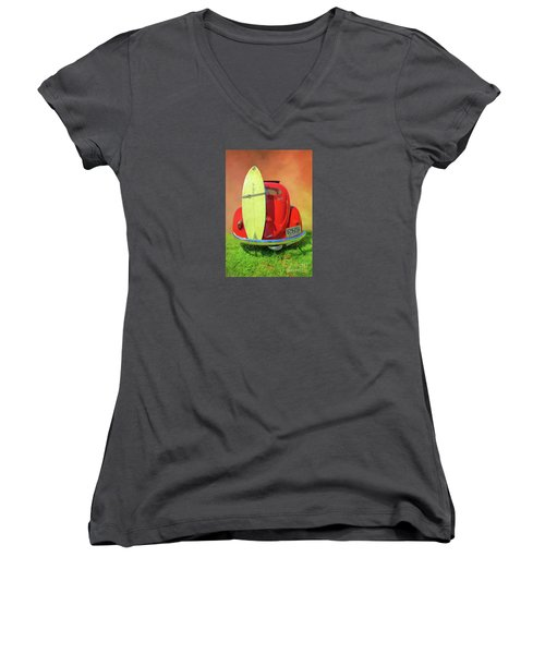 1957 Beetle Oval Women's V-Neck (Athletic Fit)