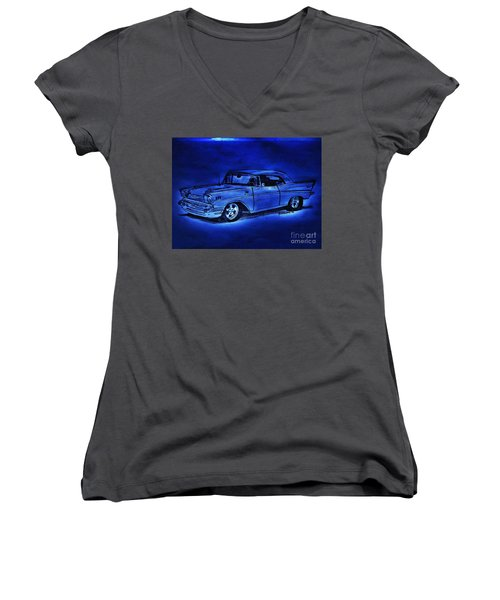 1957 Chevy Bel Air - Moonlight Cruisin  Women's V-Neck T-Shirt