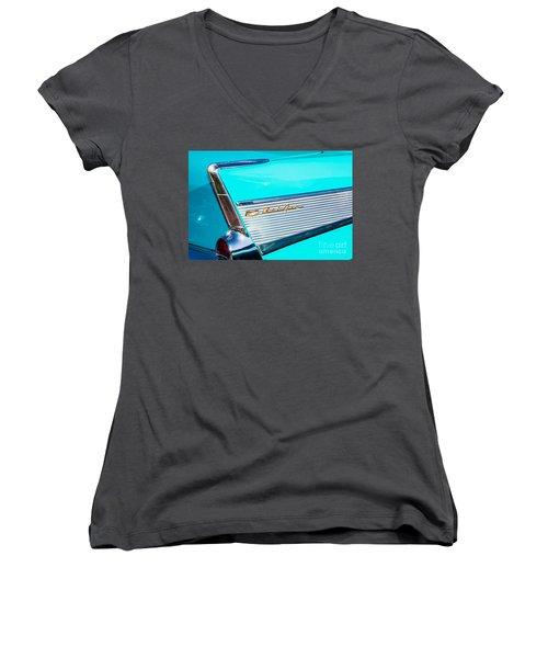 1957 Chevy Bel Air Rear Fin Women's V-Neck T-Shirt (Junior Cut) by Aloha Art