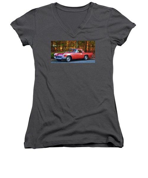 1957 Thunderbird  003 Women's V-Neck T-Shirt (Junior Cut) by George Bostian