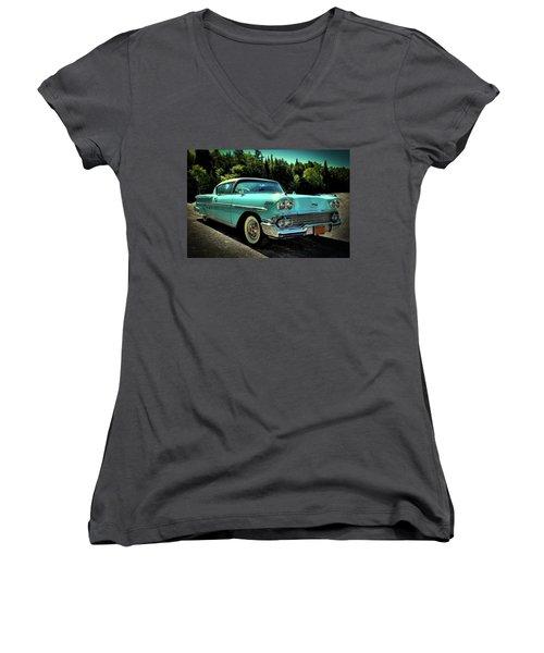 1958 Chevrolet Impala Women's V-Neck T-Shirt (Junior Cut) by David Patterson
