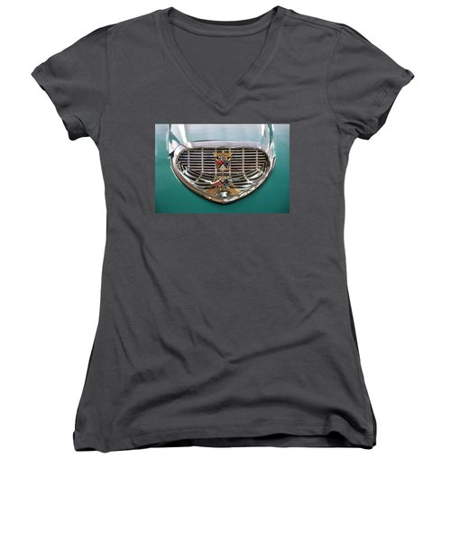 Women's V-Neck T-Shirt (Junior Cut) featuring the digital art 1958 Ford Fairlane Sunliner Intake by Chris Flees