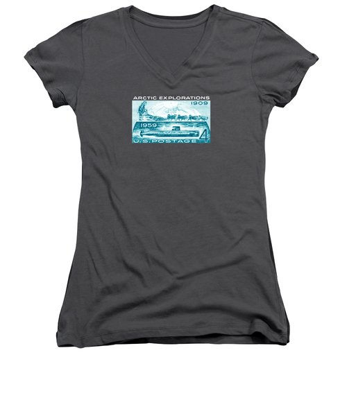Women's V-Neck T-Shirt (Junior Cut) featuring the painting 1959 Arctic Explorations by Historic Image