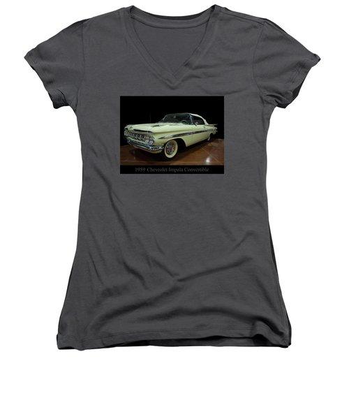 1959 Chevy Impala Convertible Women's V-Neck