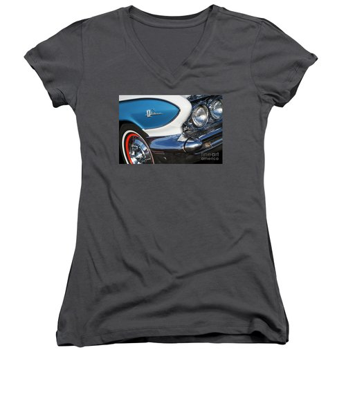 Women's V-Neck T-Shirt (Junior Cut) featuring the photograph 1961 Buick Le Sabre by Dennis Hedberg