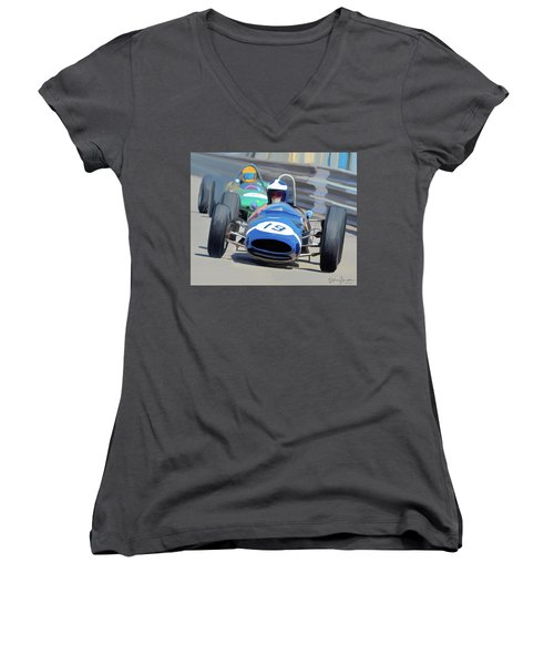 1963 Cooper T66 Coming Out Of Monaco's Mirabeau Women's V-Neck T-Shirt (Junior Cut) by Wally Hampton