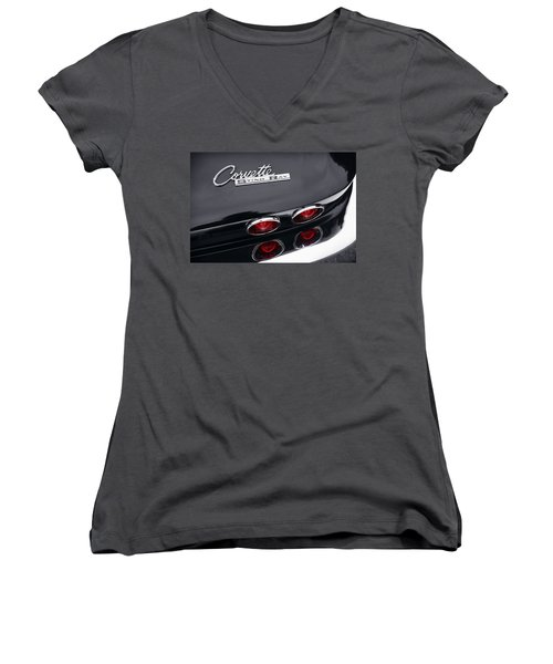 Women's V-Neck T-Shirt (Junior Cut) featuring the photograph 1964 Chevrolet Corvette Sting Ray  by Gordon Dean II