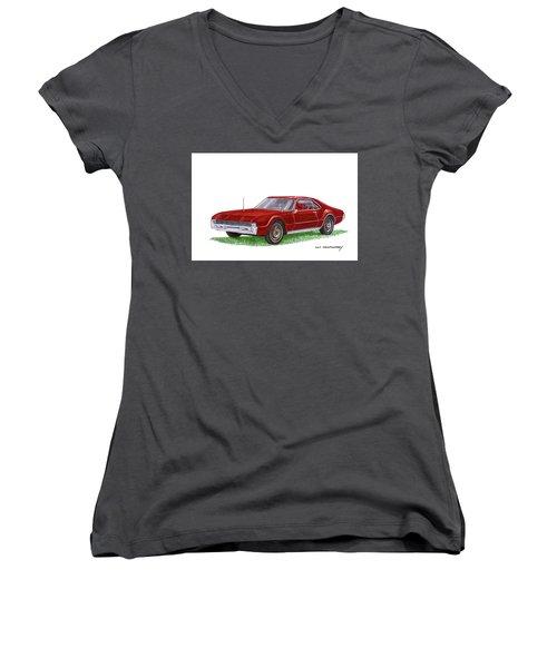 Women's V-Neck T-Shirt (Junior Cut) featuring the painting 1966 Oldsmobile Toronado by Jack Pumphrey