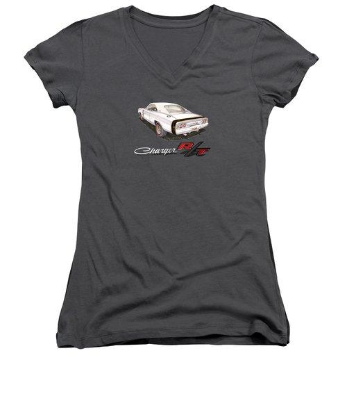 1968 Dodge Charger Tee Shirt Women's V-Neck T-Shirt