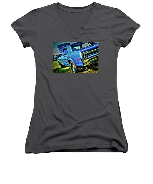 1968 Ford Mustang Women's V-Neck T-Shirt
