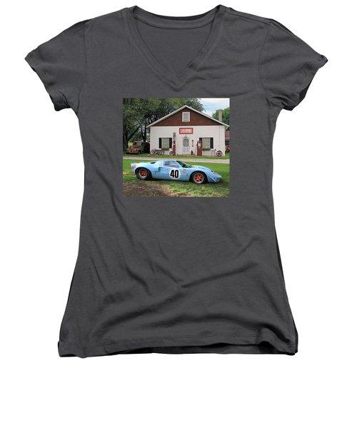 Women's V-Neck T-Shirt (Junior Cut) featuring the photograph 1968 Gulf Mirage In Missouri by Christopher McKenzie