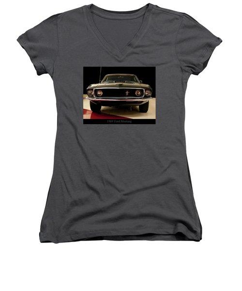 Women's V-Neck T-Shirt (Junior Cut) featuring the digital art 1969 Ford Mustang by Chris Flees