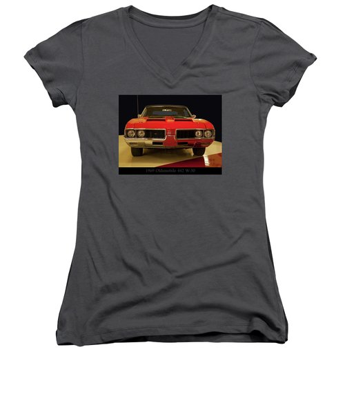 Women's V-Neck T-Shirt (Junior Cut) featuring the photograph 1969 Oldsmobile 442 W-30 by Chris Flees