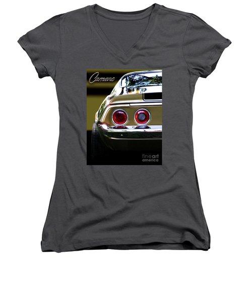 1970 Camaro Fat Ass Women's V-Neck T-Shirt (Junior Cut) by Peter Piatt
