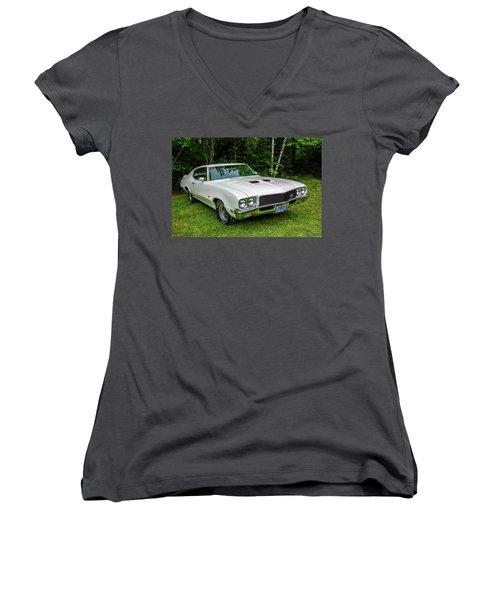 1971 Buick Skylark Gs Women's V-Neck T-Shirt (Junior Cut) by Ken Morris
