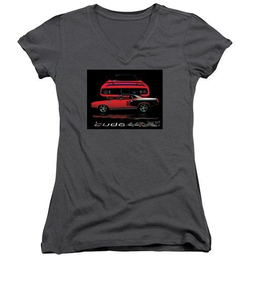 1971 Plymouth Cuda 440 Six Pack    Women's V-Neck T-Shirt (Junior Cut) by Peter Piatt