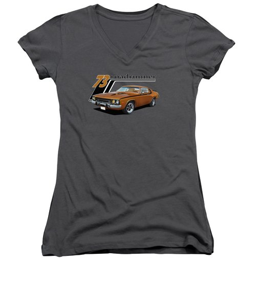 1973 Roadrunner Women's V-Neck T-Shirt (Junior Cut) by Paul Kuras