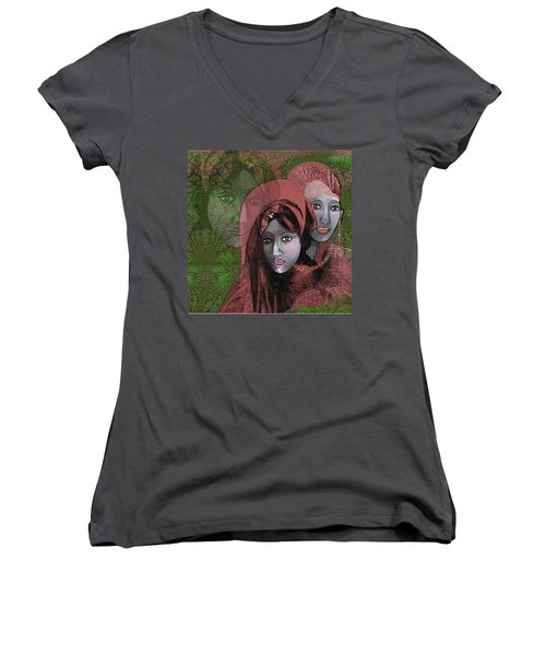 Women's V-Neck T-Shirt (Junior Cut) featuring the digital art 1974 - Women In Rosecoloured Clothes - 2017 by Irmgard Schoendorf Welch