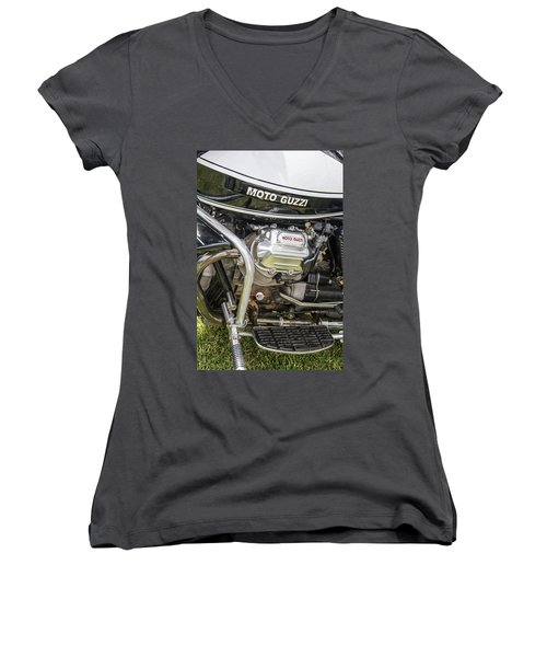 Women's V-Neck T-Shirt (Junior Cut) featuring the photograph 1976 Moto Guzzi V1000 Convert by Roger Mullenhour