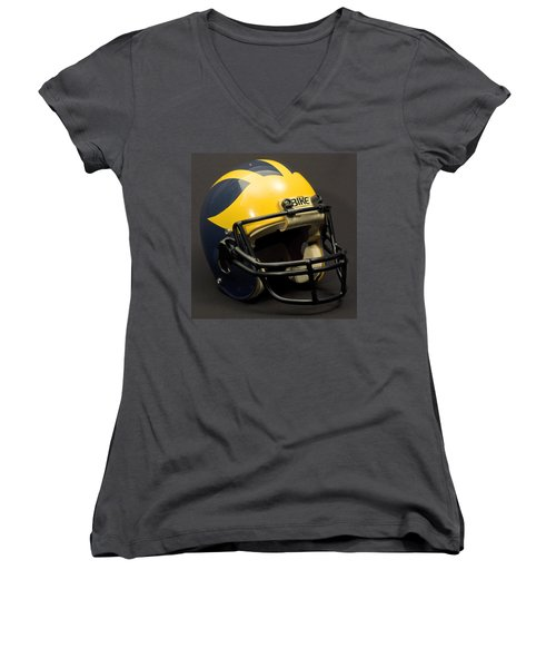 Women's V-Neck (Athletic Fit) featuring the photograph 1980s Wolverine Helmet by Michigan Helmet