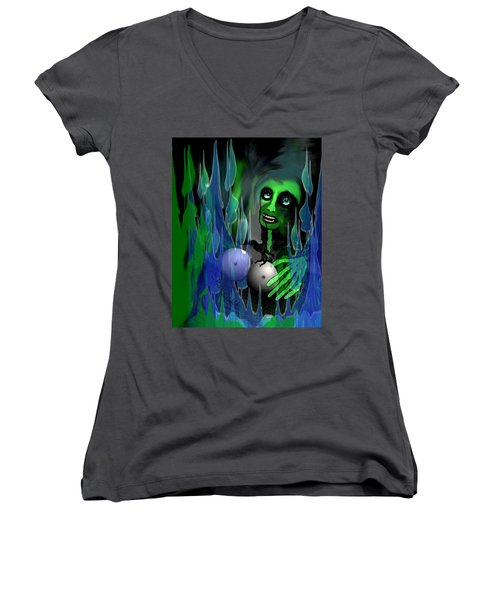 Women's V-Neck T-Shirt (Junior Cut) featuring the digital art 1981 - But My New Silicon Breasts Will Last Forever 2017 by Irmgard Schoendorf Welch