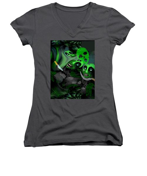 Women's V-Neck T-Shirt (Junior Cut) featuring the digital art  1982 Violence And Fear 2017 by Irmgard Schoendorf Welch