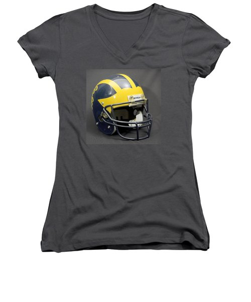 Women's V-Neck (Athletic Fit) featuring the photograph 1990s Wolverine Helmet by Michigan Helmet