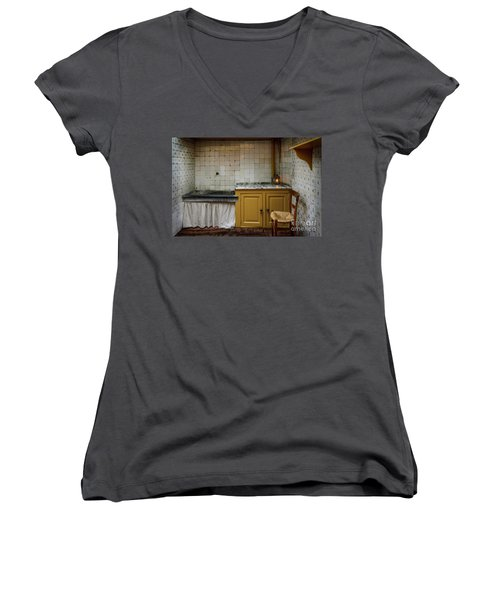 Women's V-Neck T-Shirt (Junior Cut) featuring the photograph 19th Century Kitchen In Amsterdam by RicardMN Photography