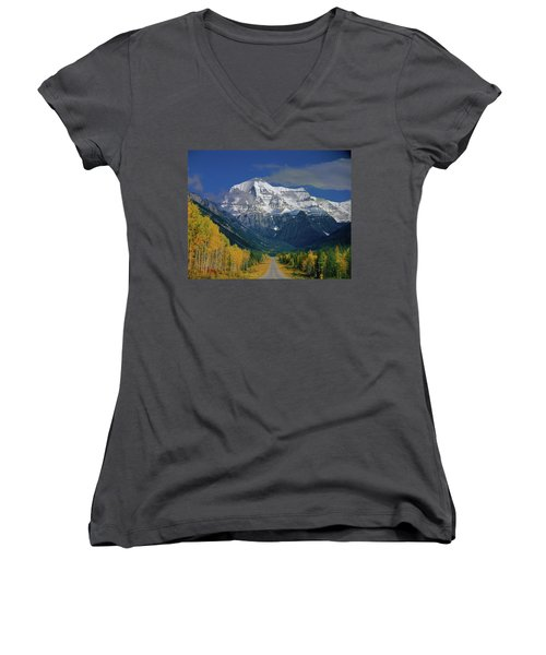 1m2441-h Mt. Robson And Yellowhead Highway H Women's V-Neck