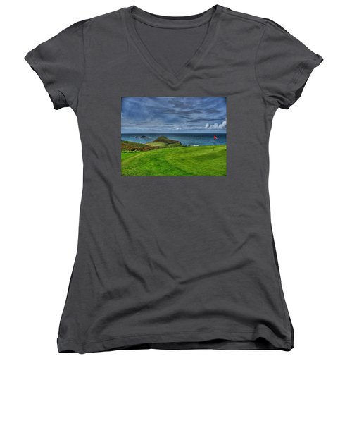 1st Green Cape Cornwall Golf Club Women's V-Neck T-Shirt