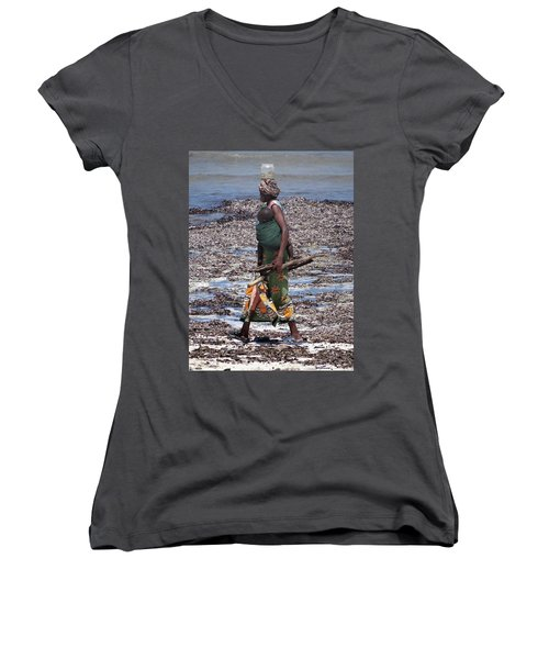 African Woman Collecting Shells 1 Women's V-Neck (Athletic Fit)