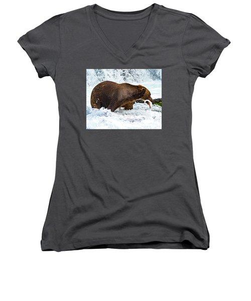 Alaska Brown Bear Women's V-Neck
