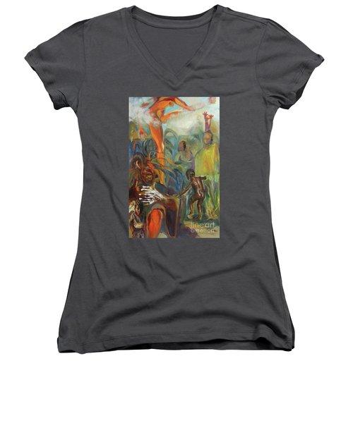 Ancestor Dance Women's V-Neck T-Shirt (Junior Cut)
