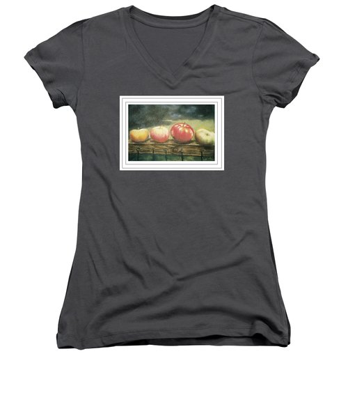Apples On A Rail Women's V-Neck T-Shirt (Junior Cut) by Harriett Masterson