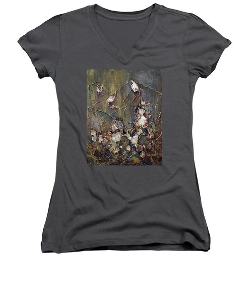 Women's V-Neck T-Shirt (Junior Cut) featuring the painting Autumn Leaves by Joanne Smoley