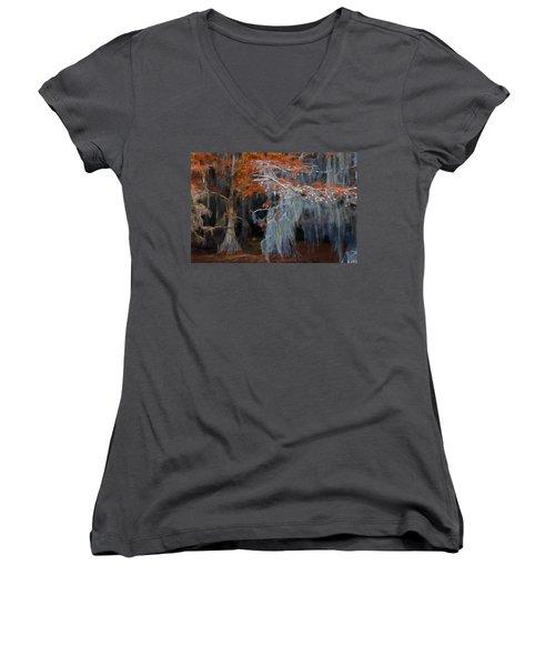 Women's V-Neck T-Shirt (Junior Cut) featuring the photograph Autumn Moss by Lana Trussell