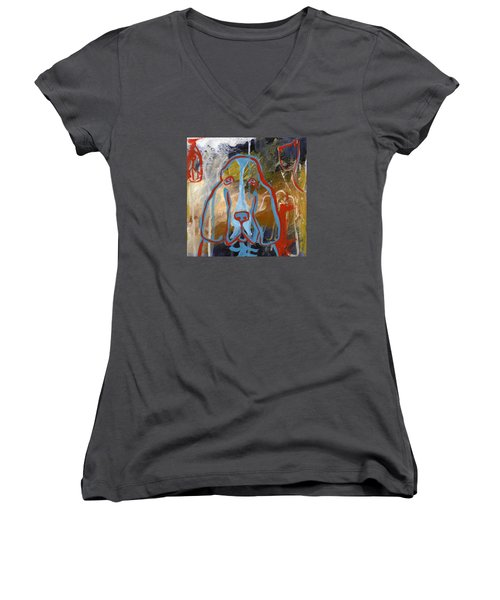 Basset Hound  Women's V-Neck T-Shirt (Junior Cut) by Leanne WILKES