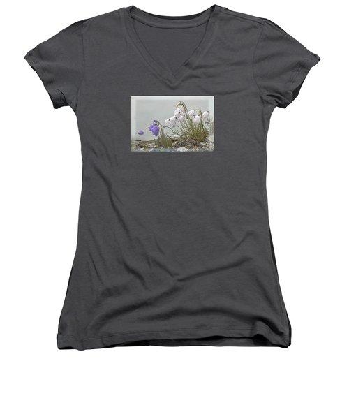 Women's V-Neck T-Shirt (Junior Cut) featuring the photograph Bellflower by Heiko Koehrer-Wagner