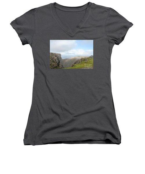 Ben Nevis Women's V-Neck T-Shirt (Junior Cut) by David Grant