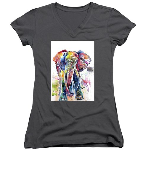 Big Colorful Elephant Women's V-Neck (Athletic Fit)