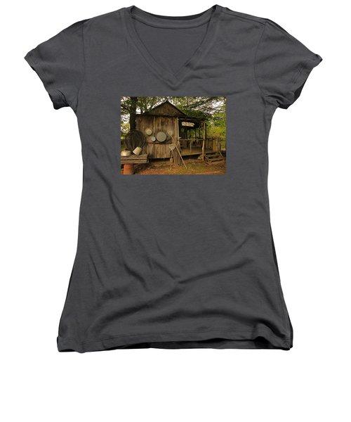 Cajun Cabin Women's V-Neck T-Shirt (Junior Cut) by Ronald Olivier
