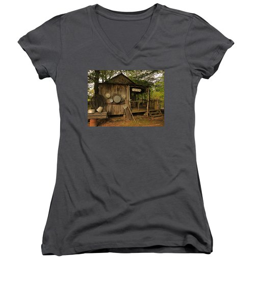 Cajun Cabin Women's V-Neck (Athletic Fit)